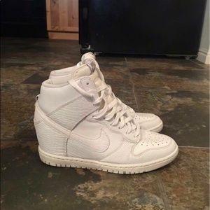 White Nike Dunk Sky Hi Sneakers